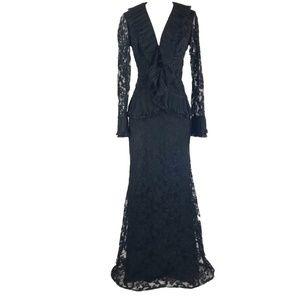 Aida Black Lace 2 Piece Suit Long Skirt Top Formal